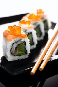 uramaki sushi with roe