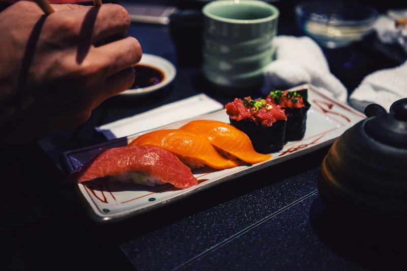 nigiri sushi pieces on a plate