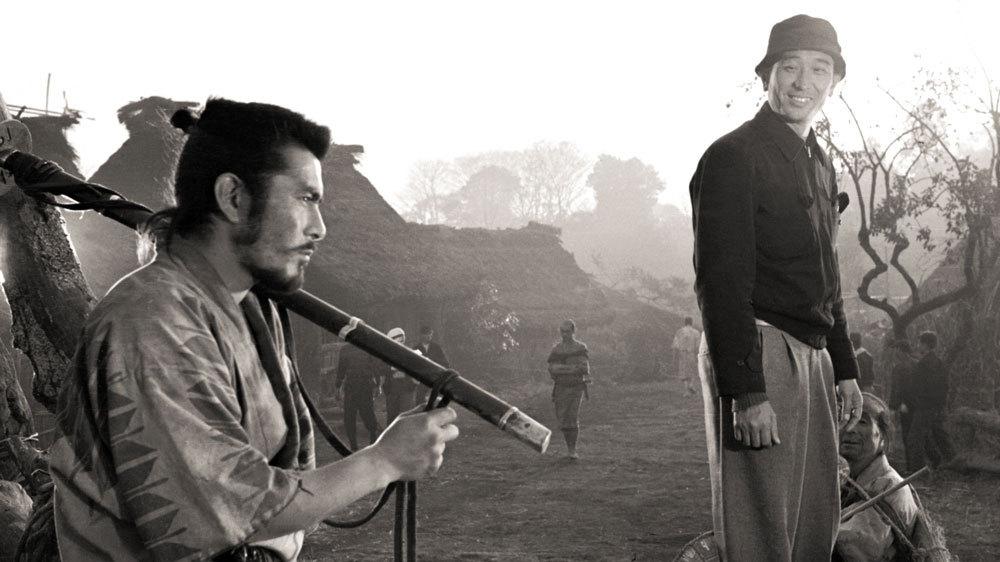 Seven Samurai, on set with Mifune and Kurosawa