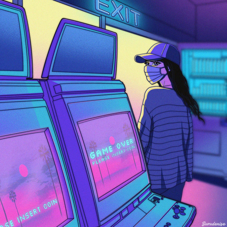 Illustration of woman wearing a mask, looking back at machines in a game arcade.