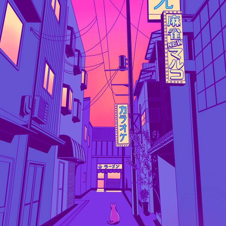 Illustration of cat sat in Japanese alleyway.