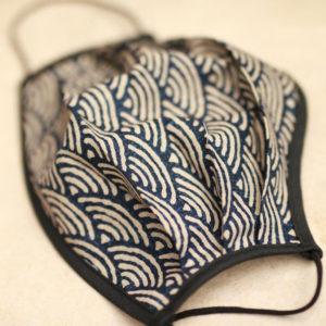 japanese big wave print face mask