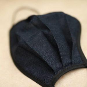 navy pin stripe print face mask