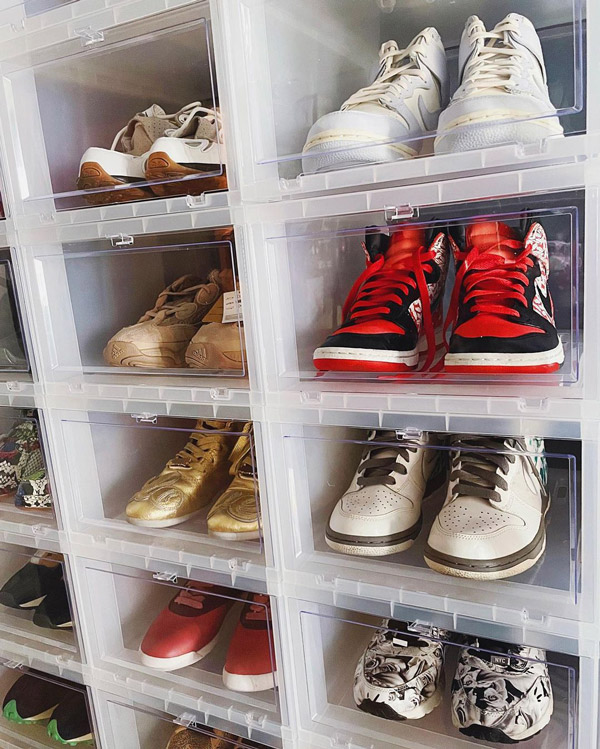 sneaker collection shelves