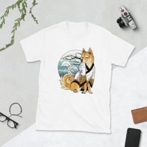 white shiba inu t-shirt