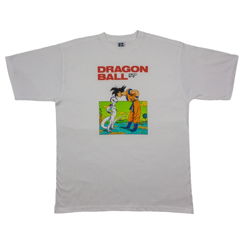 t-shirt in white, featuring Goku and Frieza from DBZ on Namek