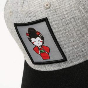 Geisha Snapback Cap Grey/Black Closeup