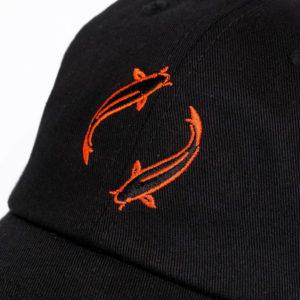 Black Koi Carp Snapback Cap Closeup