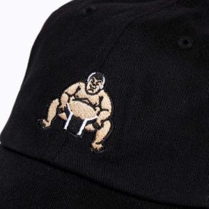 Black Sumo Wrestler Snapback Cap closeup