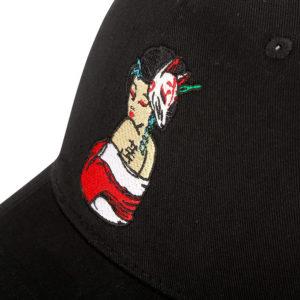 Geisha Snapback Cap Black Closeup