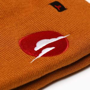 Sun & Cloud Rust Beanie Hat closeup