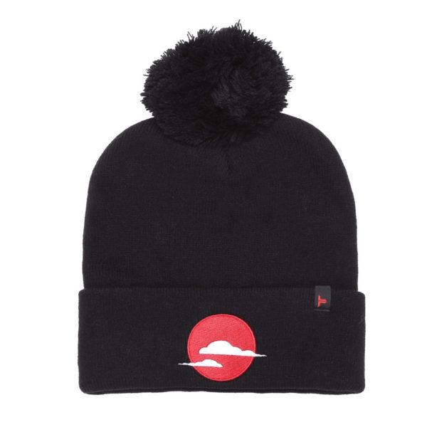 sky & cloud black bobble beanie hat